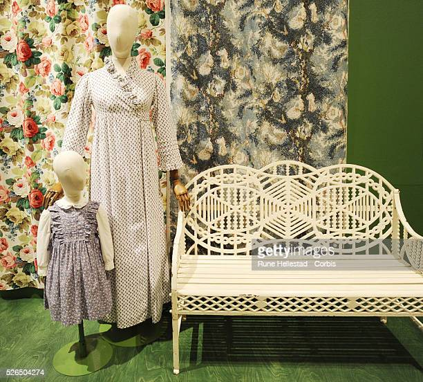 Laura Ashley dresses displayed at British Design 19482012 Innovation In The Modern Age press view at VA