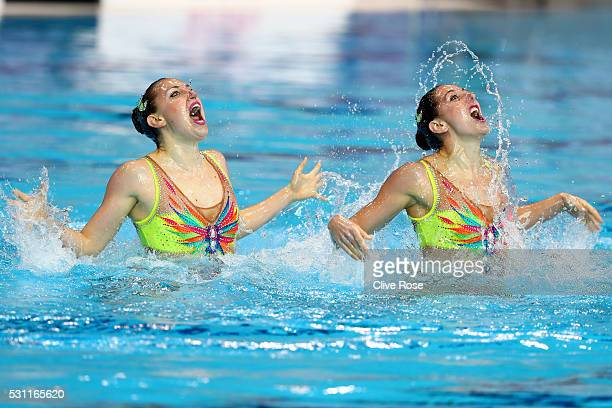 Laura Auge and Margaux Chretien of France compete in the Duet Technichal Final on day five of the 33rd LEN European Swimming Championships 2016 at...