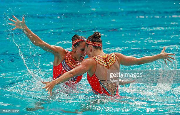 Laura Auge and Margaux Chretien of France compete in the Synchronised Swimming Duets Free Routine final on Day 11 of the Rio 2016 Olympic Games at...