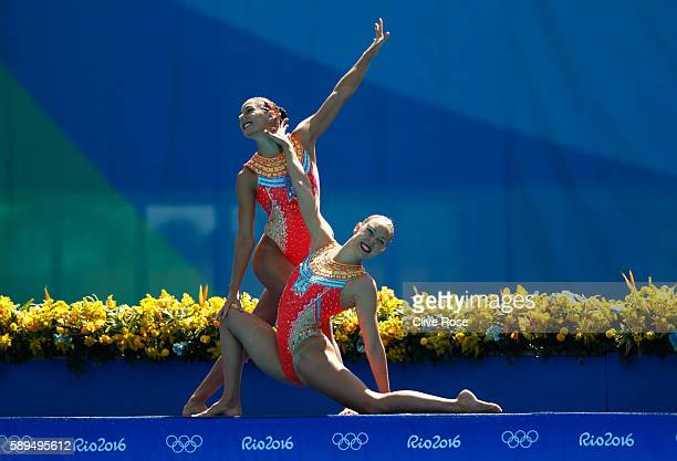 Laura Auge and Margaux Chretien of France compete in the Women's Duets Synchronised Swimming Free Routine Preliminary Round on Day 9 of the Rio 2016...