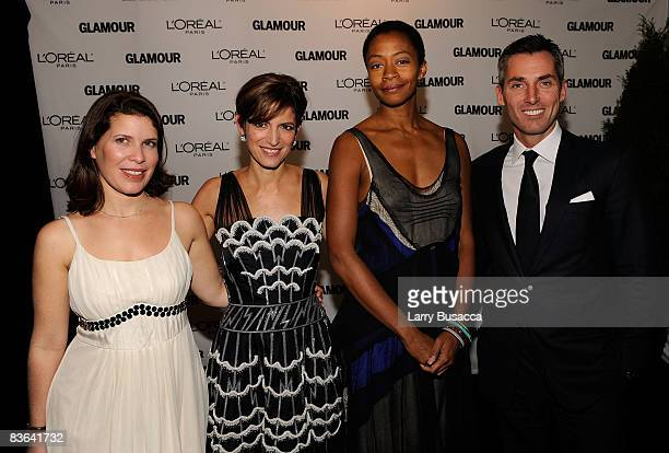 Laura Azaria of L'Oreal Glamour EditorinChief Cindi Leive artist Kara Walker and Bill Wackerman attend the 2008 Glamour Women of the Year Awards at...