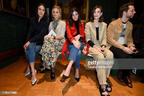 Laura Bailey and Alexa Chung attend the Erdem show during London Fashion Week February 2019 at the National Portrait Gallery on February 18 2019 in...