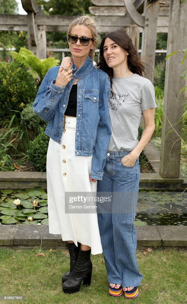 Laura Bailey and Bella Freud attend the J Brand x Bella Freud garden tea party on July 18, 2017 in London, England.