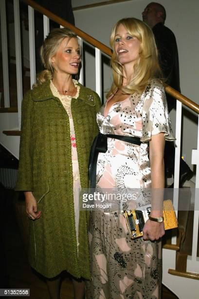 Laura Bailey and model Claudia Schiffer attend the after party following the UK premiere of Layer Cake at Matthew Freud's private home in London's...