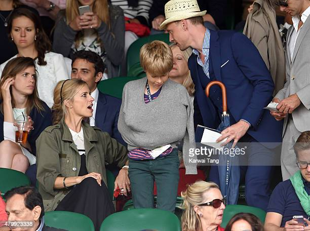 Laura Bailey and Tom Hiddleston attend day nine of the Wimbledon Tennis Championships at Wimbledon on July 8 2015 in London England