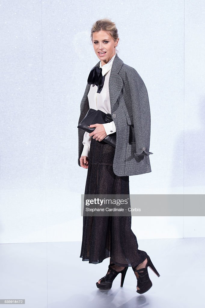 Laura Bailey attends the Chanel show as part of Paris Fashion Week Haute-Couture Spring/Summer 2014, at Grand Palais in Paris.