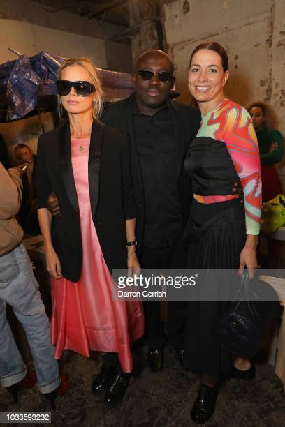 Laura Bailey Edward Enninful and Yana Peel attend the Molly Goddard show during London Fashion Week September 2018 on September 15 2018 in London...