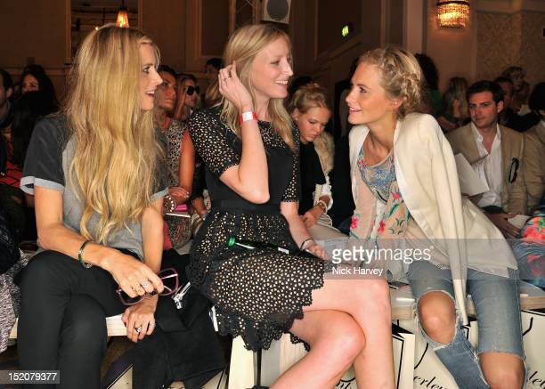 Laura Bailey Jade Parfitt and Poppy Delevingne attend the front row for the Temperley show on day 3 of London Fashion Week Spring/Summer 2013 at...
