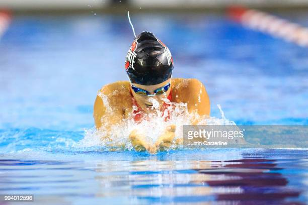 Laura Banks competes in the women's 100m breaststroke prelims at the 2018 TYR Pro Series on July 8 2018 in Columbus Ohio