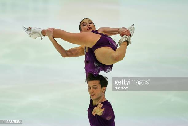 Laura Barquero and Ton Consul of Spain during Short Programme for pairs at ISU European Figure Skating Championships in Steiermarkhalle Graz Austria...