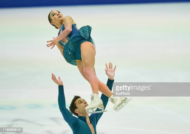 Laura Barquero and Ton Consul of Spain in action during Pairs Free Skating at ISU European Figure Skating Championships in Steiermarkhalle Graz...