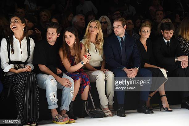 Laura Barriales Marco Ferrero Michelle Hunziker Tomaso Trussardi Emma Winter and Andrea Agnelli attend Trussardi Fashion Show during Milan Fashion...