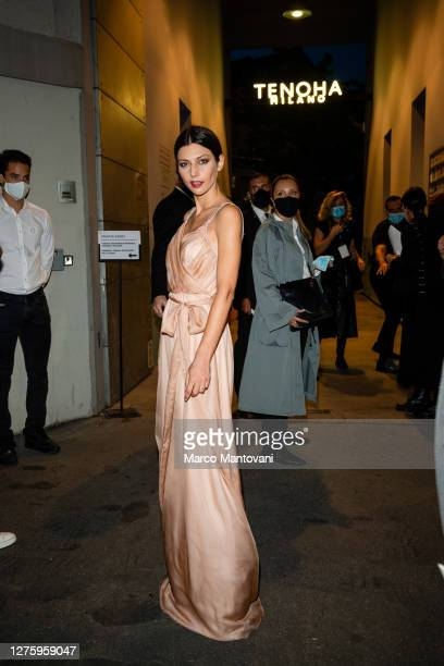 Laura Barth attends the Blumarine fashion show during the Milan Women's Fashion Week on September 23 2020 in Milan Italy