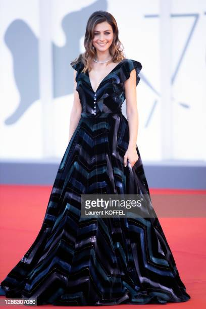"""Laura Barth walks the red carpet ahead of the movie """"Amants"""" at the 77th Venice Film Festival at on September 03, 2020 in Venice, Italy."""