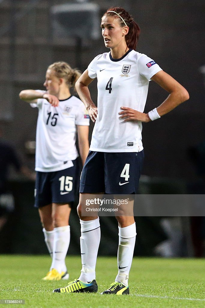 Laura Bassett and Jill Scott of England look dejected after the second goal of Spain during the UEFA Women's EURO 2013 Group C match between England and Spain at Linkoping Arena on July 12, 2013 in Linkoping, Sweden.