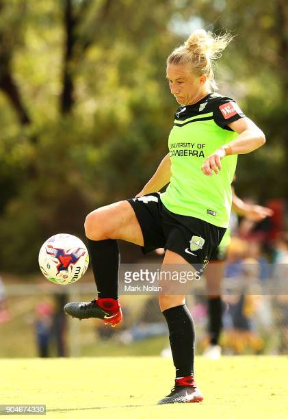 Laura Bassett of Canberra in action during the round 11 WLeague match between Canberra United and the Western Sydney Wanderers at McKellar Park on...