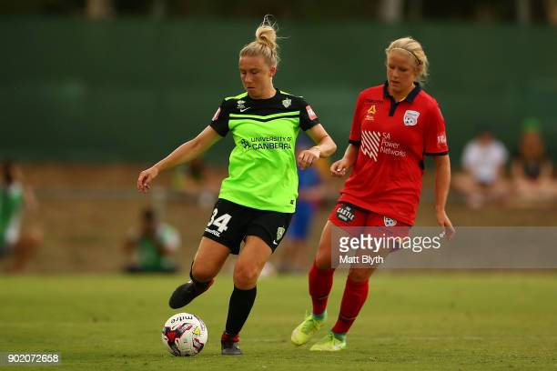 Laura Bassett of Canberra United FC kicks during the round 10 WLeague match between Canberra United and Adelaide United at McKellar Park on January 7...
