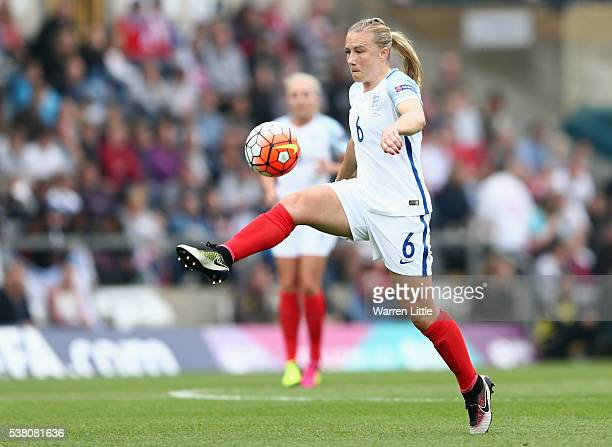 Laura Bassett of England in action during the UEFA Women's European Championship Qualifying match between England and Serbia at Adams Park on June 4...