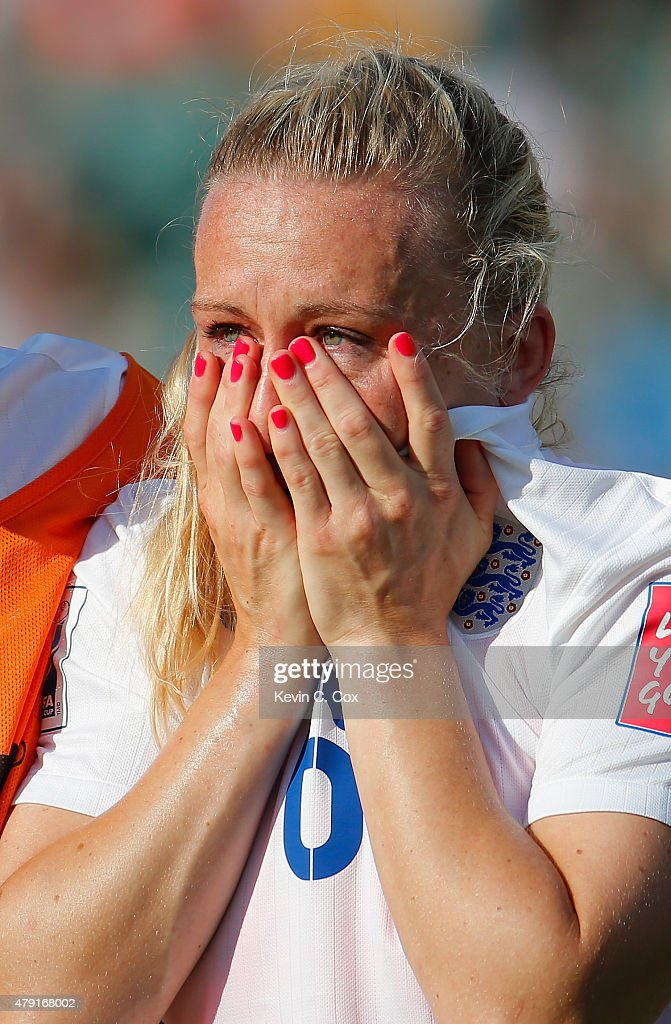 Laura Bassett of England is dejected after the FIFA Women's World Cup Semi Final match between Japan and England at the Commonwealth Stadium on July 1, 2015 in Edmonton, Canada.