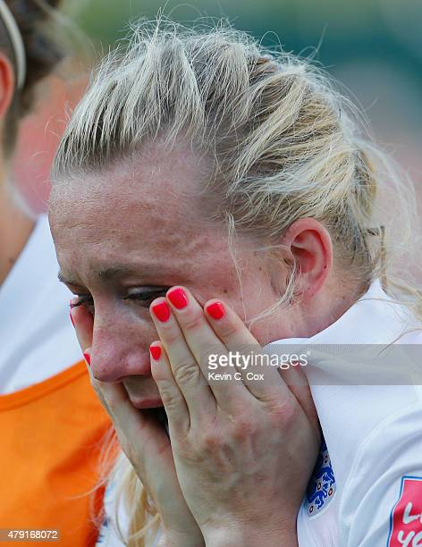 Laura Bassett of England is dejected after the FIFA Women's World Cup Semi Final match between Japan and England at the Commonwealth Stadium on July...