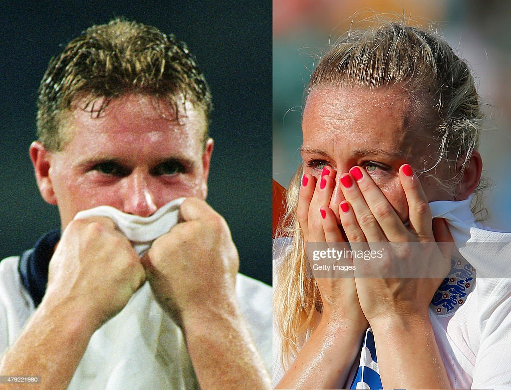 (FILE PHOTO - Image Numbers 1051094 (L) and 479168002) In this composite image a comparison has been made between Paul Gascoigne of England (L) a member of the 1990 World Cup England Squad and Laura Bassett of England a member of the 2015 World Cup England Squad, both teams went out in the semi final stages of the World Cup nearly 25 years apart. EDMONTON, AB - JULY 01: Laura Bassett of England is dejected after the FIFA Women's World Cup Semi Final match between Japan and England at the Commonwealth Stadium on July 1, 2015 in Edmonton, Canada.
