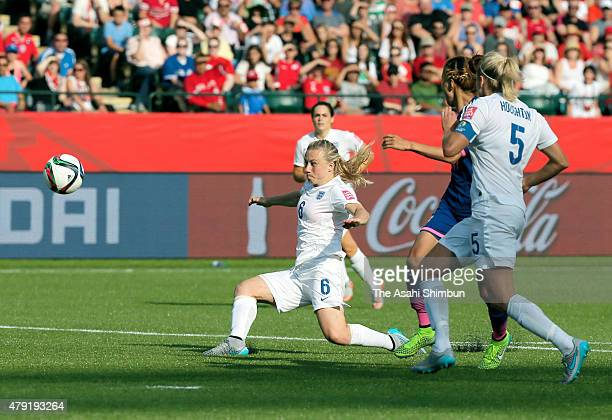 Laura Bassett of England kicks the ball resulting in an own goal during the FIFA Women's World Cup 2015 Semi Final match between Japan and England at...
