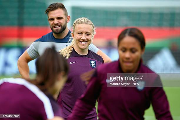 Laura Bassett of England looks on during a training session at Commonwealth Stadium on July 3 2015 in Edmonton Alberta Canada