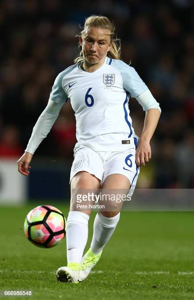Laura Bassett of England Women in action during the International Friendly match between England Women and Austria Women at Stadium mk on April 10...
