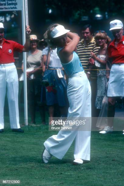 Laura Baugh of the United States hits her shot during the 1978 WUI Classic circa August 1978 at the North Hills Country Club in Manhasset New York