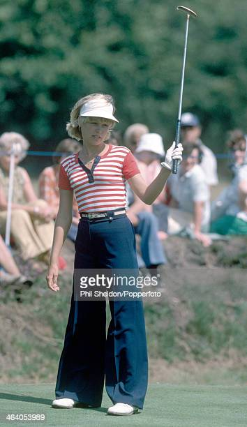 Laura Baugh of the United States tracking her putt during the LPGA Championship held at the Sunningdale Golf Club Berkshire circa 1977