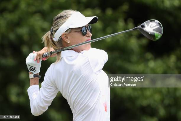 Laura Baugh plays a tee shot on the first hole during the first round of the US Senior Women's Open at Chicago Golf Club on July 12 2018 in Wheaton...