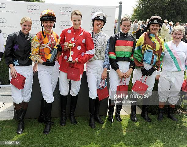 Laura Bechtolsheimer, Kate Reardon, Edie Campbell, Sara Cox, Francesca Cumani, Clare Milford-Haven and Dido Harding pose in the Winners Circle after...
