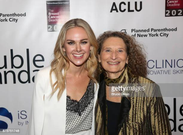 Laura Bell Bundy and Donna Lieberman pose at 'Double Standards' a concert benefiting womans rights heath and empowerment funding the ACLU National...