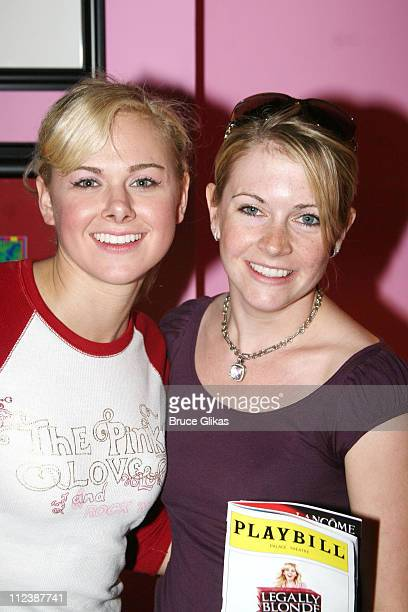 Laura Bell Bundy and Melissa Joan Hart during Tyra Banks visits Legally Blonde on Broadway at The Palace Theatre in New York NY United States