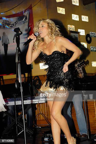 Laura Bell Bundy performs at the Guilty Pleasures Show during the 2010 Country Radio Seminar at the Cadillac Ranch on February 26 2010 in Nashville...