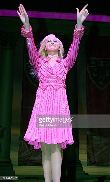 "Laura Bell Bundy takes her final bow as ""Elle Woods"" in ""Legally Blonde: The Musical"" on Broadway at the Palace Theatre on July 20, 2008 in New York..."