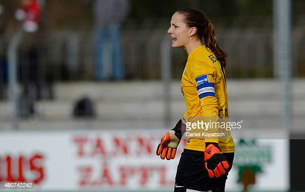Laura Benkarth of Freiburg reacts during the Women's DFB Cup Quarter Final match between SC Freiburg and FSV Guertersloh 2009 at Moeslestadion on...