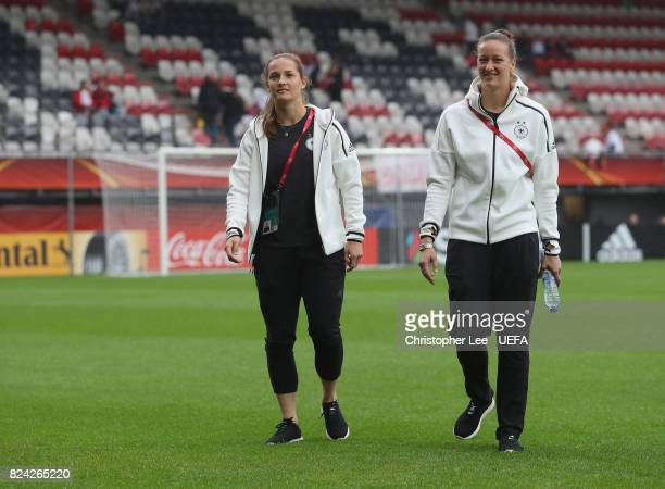 Laura Benkarth of Germany and Almuth Schult of Germany on the pitch during the UEFA Women's Euro 2017 Quarter Final match between Germany and Denmark...
