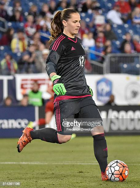 Laura Benkarth of Germany plays against England during the second half of a friendly international match in the Shebelieves Cup at Nissan Stadium on...