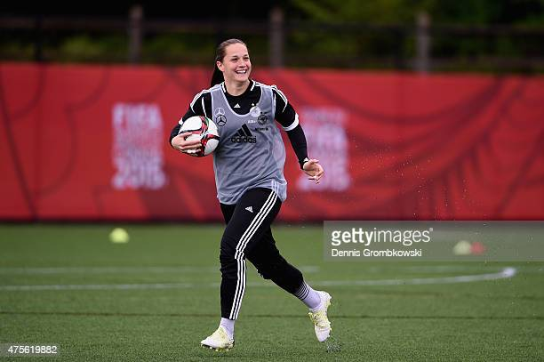 Laura Benkarth of Germany practices during a morning traning session at Richcraft Recreation Complex on June 2 2015 in Ottawa Canada