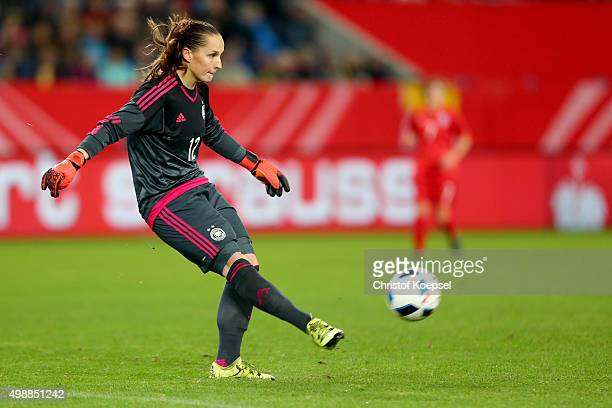 Laura Benkarth of Germany runs with the ball during the Women's International Friendly match between Germany and England at SchauinslandReisenArena...