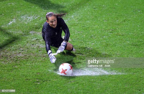 Laura Benkarth of Germany Women makes a save in the rain before the UEFA Women's Euro 2017 match between Germany and Denmark at Sparta Stadion on...