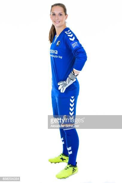 Laura Benkarth of SC Freiburg poses during the Allianz Frauen Bundesliga Club Tour at Elbigenalp on August 21 2017 in Elbigenalp Austria