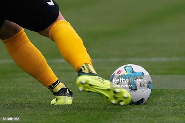 Laura Benkarth of SC Freiburg takes a goal kick during the women Bundesliga match between Bayern Muenchen and SC Freiburg at Stadion an der...