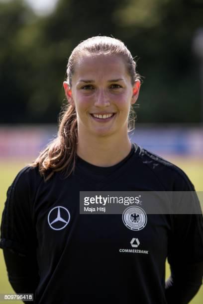 Laura Benkarth poses during Germany Women's Team Presentation on July 6 2017 in Heidelberg Germany