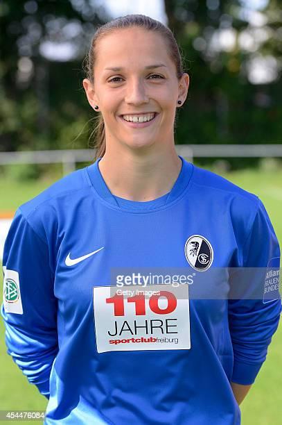 Laura Benkarth poses during the team presentation of SC Freiburg Women's at SC Freiburg training ground on August 15 2014 in Freiburg im Breisgau...