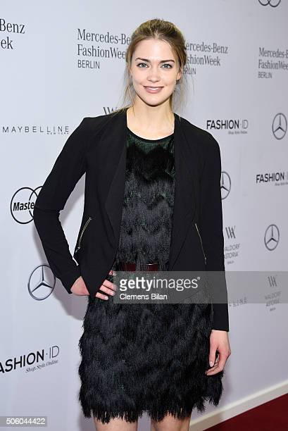 Laura Berlin attends the Dimitri show during the MercedesBenz Fashion Week Berlin Autumn/Winter 2016 at Brandenburg Gate on January 21 2016 in Berlin...
