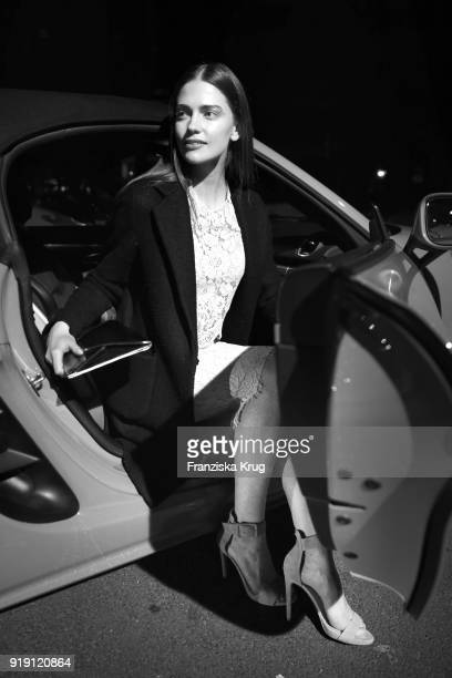 Image has been converted to black and white Laura Berlin attends the Porsche at Blue Hour Party hosted by ARD during the 68th Berlinale International...