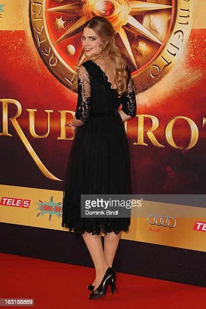 "Laura Berlin attends the ""Rubinrot"" premiere on March 5, 2013 in Munich, Germany."