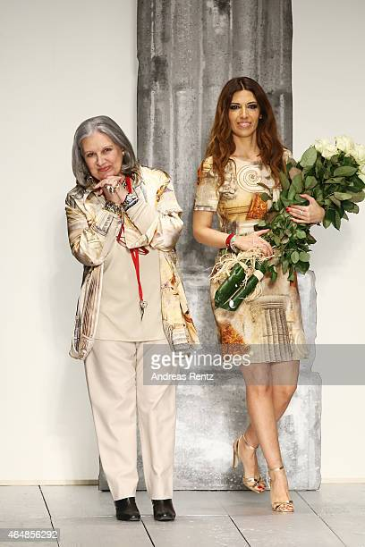 Laura Biagiotti and Lavinia Biagiotti walk the runway at the Laura Biagiotti show during the Milan Fashion Week Autumn/Winter 2015 on March 1 2015 in...